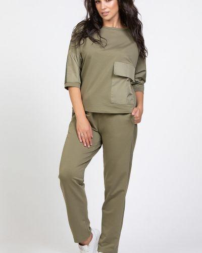 Прямые брюки с карманами из плащевки прима линия