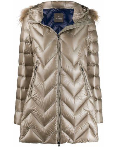 Прямая длинная куртка мятная с опушкой Hetrego
