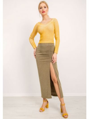 Spódnica z falbanami - khaki Fashionhunters