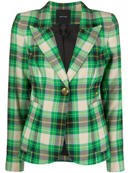 Зеленый пиджак с карманами из вискозы с лацканами Smythe