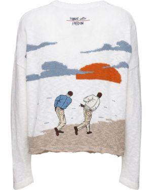 Prążkowany biały sweter bawełniany Handle With Freedom