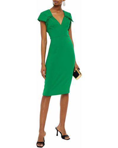 Зеленое платье с подкладкой на крючках из крепа Badgley Mischka