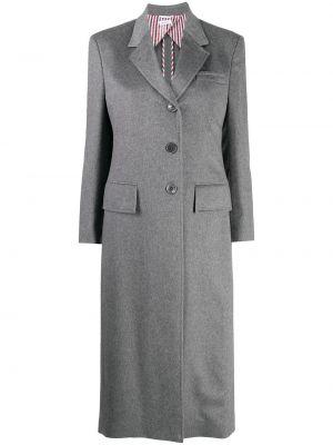 Серое кашемировое длинное пальто Thom Browne