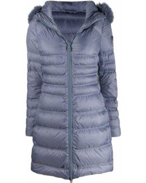 Прямое приталенное стеганое пальто айвори из лисы Peuterey