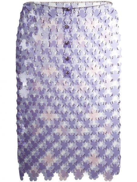 Плиссированная фиолетовая юбка мини прозрачная узкого кроя Paco Rabanne