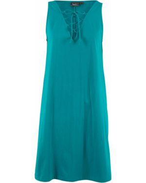 Платье мини на шнуровке синее Bonprix