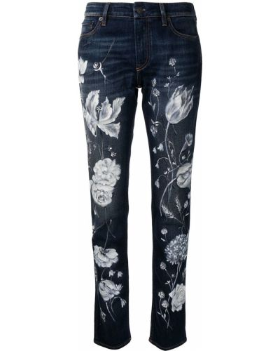 Хлопковые синие прямые джинсы на молнии Ralph Lauren Collection