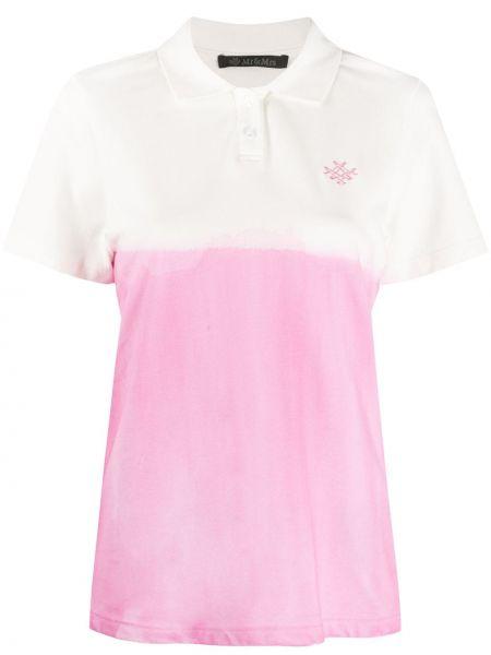 Хлопковый розовый топ с вышивкой с воротником Mr & Mrs Italy