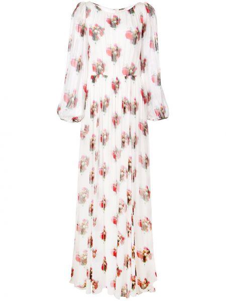 Платье макси на пуговицах с цветочным принтом Adam Lippes