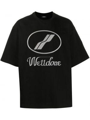 Хлопковая черная футболка свободного кроя с круглым вырезом We11done