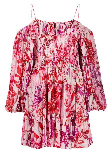 Różowa sukienka mini rozkloszowana z długimi rękawami So Allure