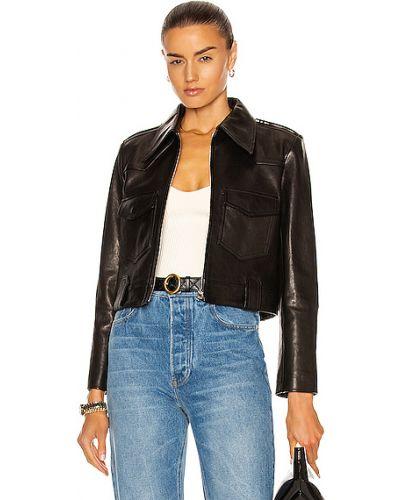 Черная кожаная длинная куртка с карманами Khaite