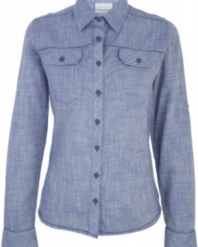 Рубашка с длинным рукавом фиолетовый с карманами Columbia