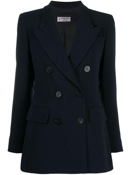 Приталенный синий классический пиджак двубортный Alberto Biani