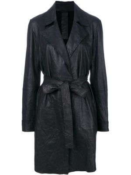 С рукавами черное прямое кожаное пальто с поясом Vanderwilt
