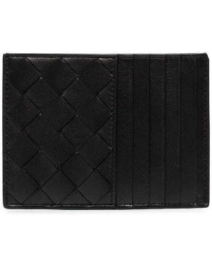 Кожаный кошелек черный с логотипом Bottega Veneta