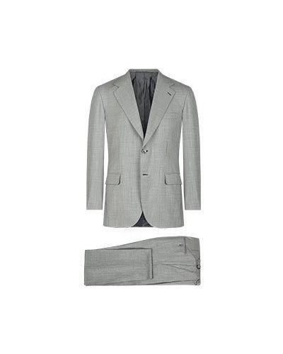Костюмный серый шерстяной костюм Brioni