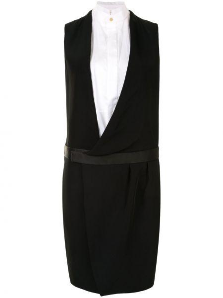 Платье с запахом на пуговицах с воротником без рукавов Céline Pre-owned