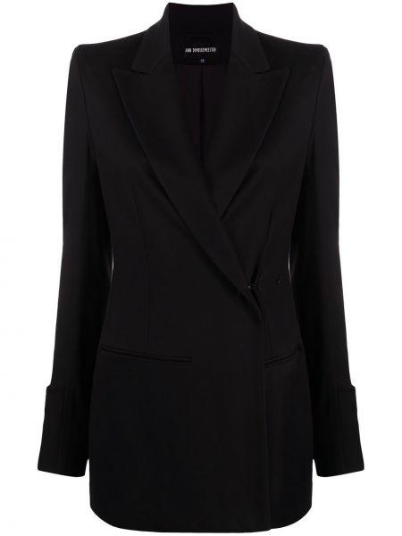 Приталенный черный классический пиджак двубортный Ann Demeulemeester
