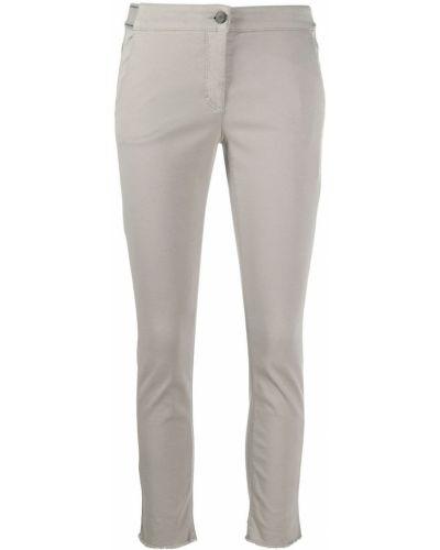 Хлопковые облегающие серые укороченные брюки на молнии Luisa Cerano