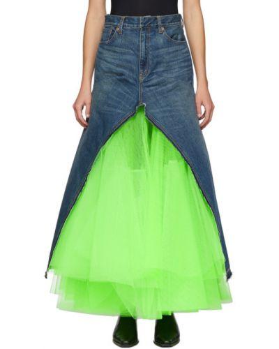 Niebieski spódnica maxi z kieszeniami z prawdziwej skóry z łatami Junya Watanabe