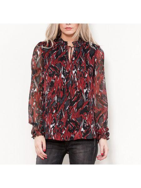 Черная блузка с длинным рукавом с оборками с воротником с завязками Le Temps Des Cerises
