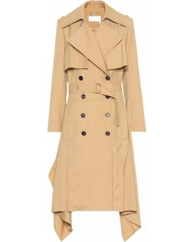 Бежевое шерстяное пальто классическое с поясом Chloé