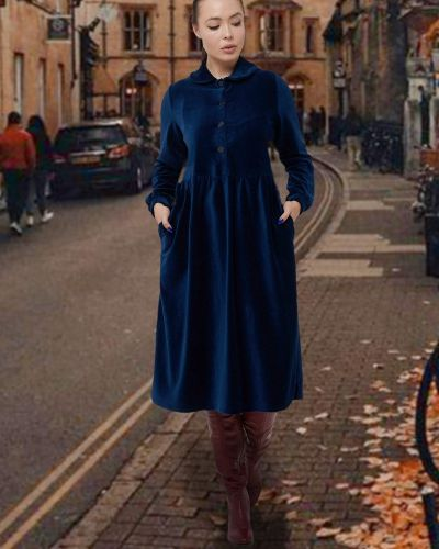 Приталенное платье на пуговицах с воротником вельветовое Mix-mode