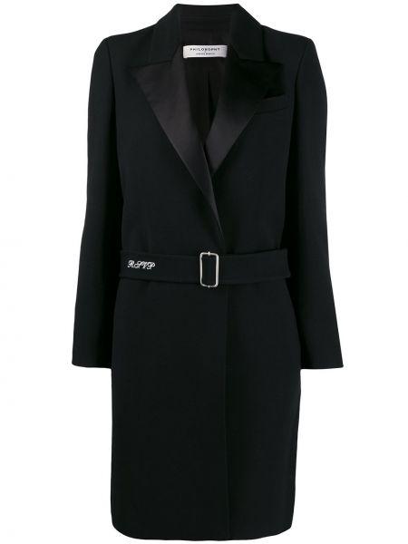 Черное длинное пальто с капюшоном Philosophy Di Lorenzo Serafini