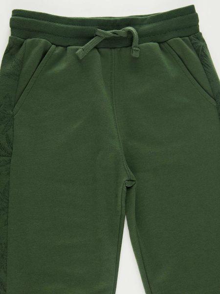 Хлопковые зеленые спортивные брюки с карманами Defacto