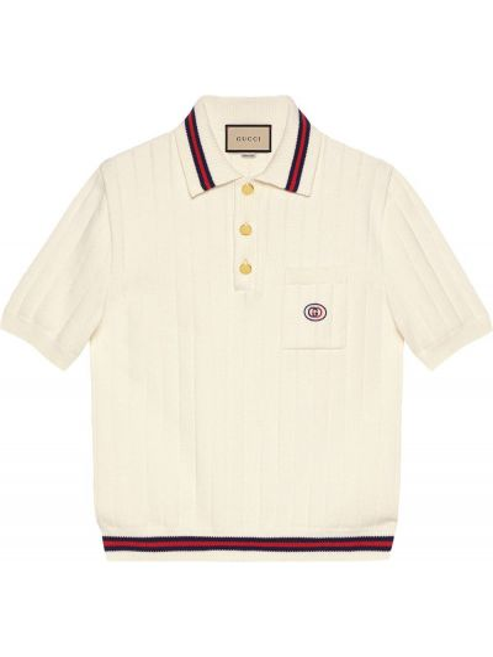 Biała koszula krótki rękaw bawełniana Gucci