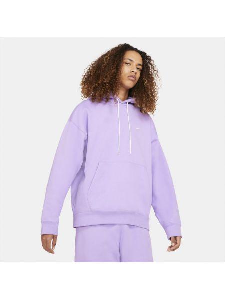 Fioletowa bluza z kapturem dzianinowa Nike