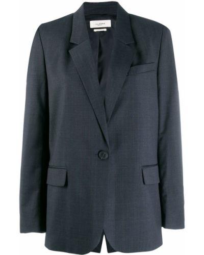 Прямой синий классический пиджак с карманами Isabel Marant étoile