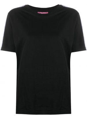 Хлопковая прямая черная футболка с круглым вырезом Chiara Ferragni