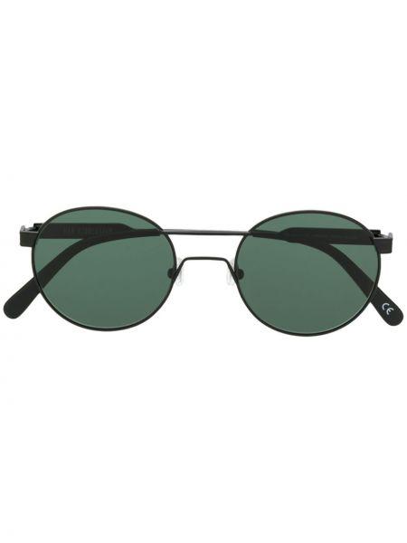 Прямые черные солнцезащитные очки круглые металлические Han Kjøbenhavn