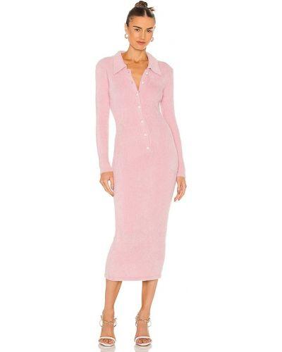 Шелковое платье миди - розовое Amanda Uprichard
