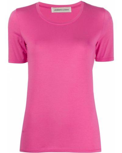 Розовая прямая базовая футболка с круглым вырезом Lamberto Losani