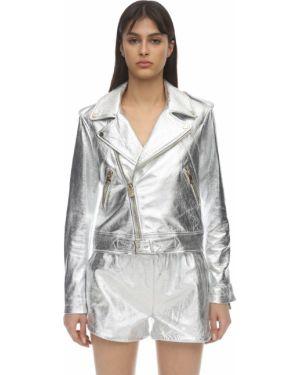 Серебряный кожаный пиджак с карманами на кнопках Coco Cloude
