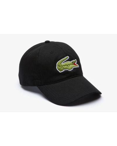 Czarna czapka z daszkiem bawełniana z haftem Lacoste