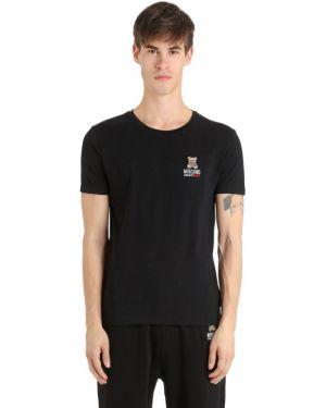 Prążkowany czarny t-shirt bawełniany Moschino Underwear