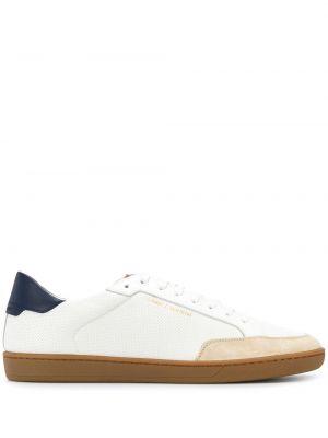 Biały klasyczny skórzany sneakersy perforowany Saint Laurent