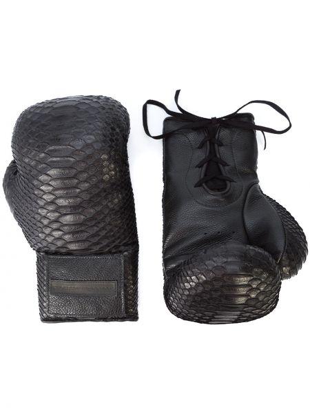 Skórzany rękawiczki ażurowy czarny Elisabeth Weinstock