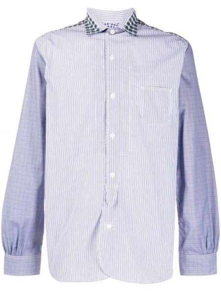 Синяя рубашка с воротником с нашивками с длинными рукавами Junya Watanabe Man