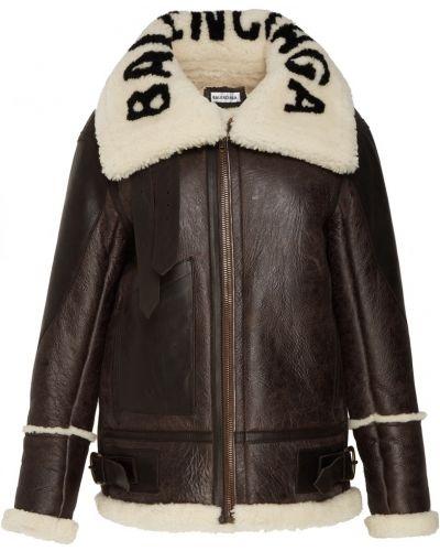 Кожаная куртка черная на овчине Balenciaga