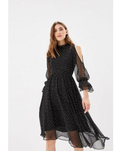 Платье с открытыми плечами черное Warehouse
