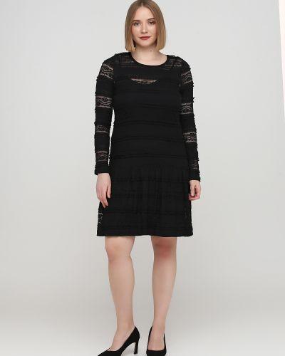 Ажурное черное платье макси с круглым вырезом Kookai