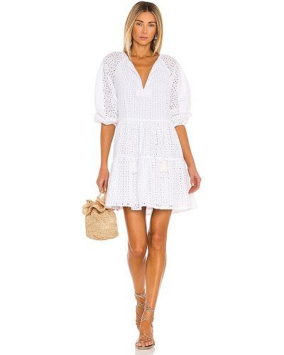 Хлопковое белое платье мини с декольте Karina Grimaldi