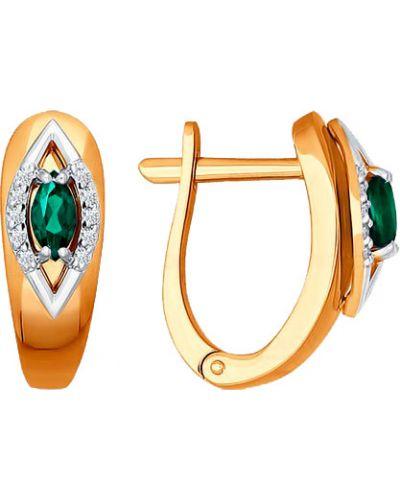 Золотые серьги с бриллиантом с изумрудом Sokolov