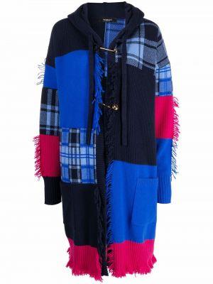 Синее полупальто с капюшоном Versace