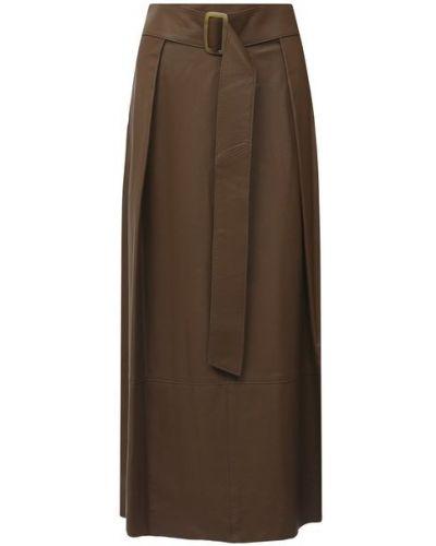 Бежевая кожаная юбка с подкладкой Vince.
